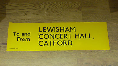 London Transport Routemaster Bus Slipboard Poster: LEWISHAM CONCERT HALL CATFORD