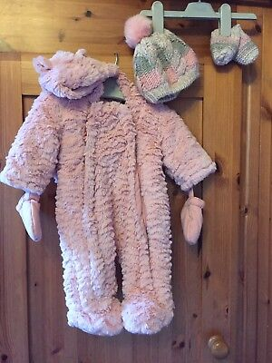 Lovely Baby Girls Pink Furry Snowsuit Coat With Gloves And Hat 0-3 Months