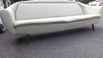 Vintage Original Mid Century Sofa Day Bed 1950s 1960s Retro Danish Splayed Legs