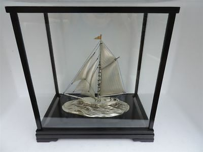 Large Vintage Hand Crafted Japanese Solid Sterling Silver Yacht Ship Boat Japan