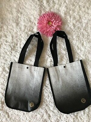 Lot Of 2!! Lululemon Reusable Tote Bag Small Speckled Black Gray White New!!