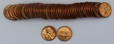 Roll of 50x 1959-P BU Lincoln Memorial Cents Pennies Old US Coins Penny Cent