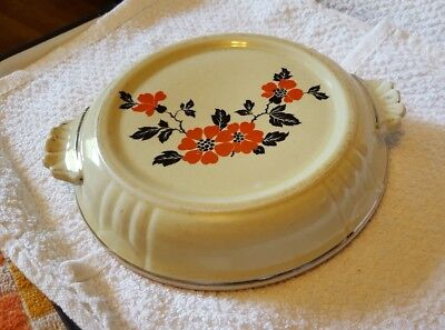 Antique Porcelain  Teapot Trivet  Painted Orange Black Flowers w/Gold Trim edge