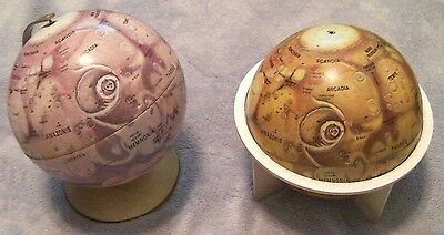 """Lot of Two Mars Replogle Metal Globes 6"""" Two Different Colors and Stands NASA"""