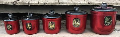 Vintage Retro Set Of 5 Raco Graduated Canisters Anodised Aluminium Red Black