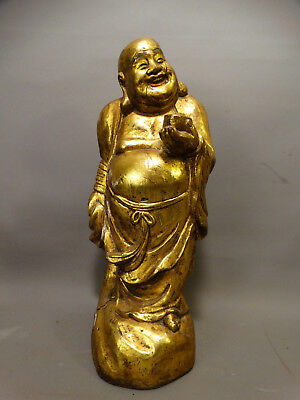 Antique CHINESE Oriental GILT Carved WOOD Buddhist BUDDHA STATUE Heavy SCULPTURE