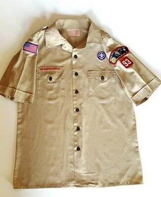 BSA Boy Scouts Of America Youth XL Uniform Shirt Khaki Short Sleeve 581