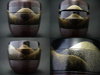 Japanese Lacquer Wooden Tea Caddy DISTANT MOUNTAIN makie Chu-Natsume (904)