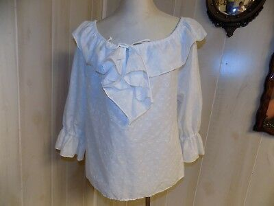 NWOT Partners Please MALCO MODES WHITE PEASANT STYLE SQUARE DANCE BLOUSE  S
