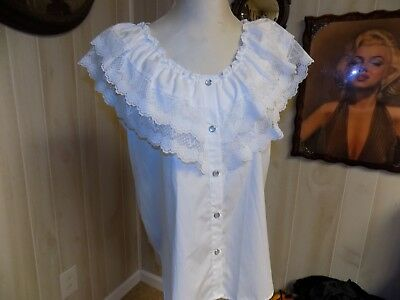 NWOT Partners Please MALCO MODES WHITE PEASANT STYLE SQUARE DANCE BLOUSE  M
