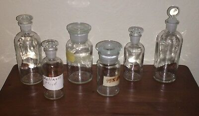 Collection/Lot 6 Assorted Antique Apothecary Bottle Jar~Ground Glass Stoppers