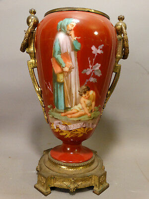 19thC Antique CIMABUE Artist PORTRAIT PAINTING Brass PORCELAIN Oil LAMP Base URN