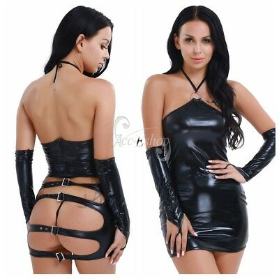 Sexy Women's Halter PVC Leather Costume Teddies Lingerie Club Wear G-string Set