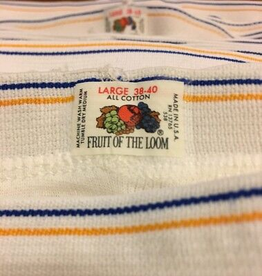 Vintage 80s Fruit Of The Loom Briefs New Out Of Package LARGE Blue Yellow Stripe