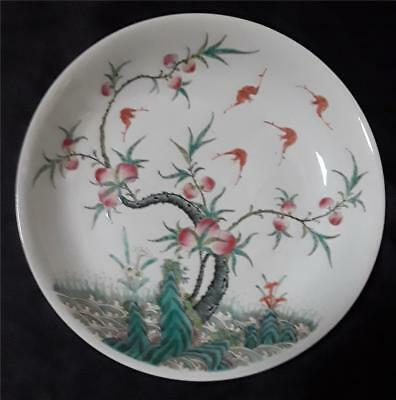 Antique Chinese Peaches & Bats Porcelain Plate With Mark