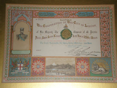 Nasr al-Din Shah Qajar Rare Persian 1873 Invitation - reception City of London