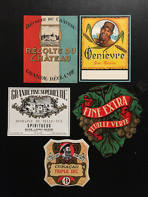 Vintage Lot  of 15 European Wine Labels – New Old Stock LOT B
