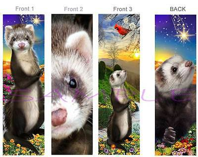 3 Lot-FERRET BOOKMARK Small Animal Pet Art Brown Weasle Book Mark figurine Card