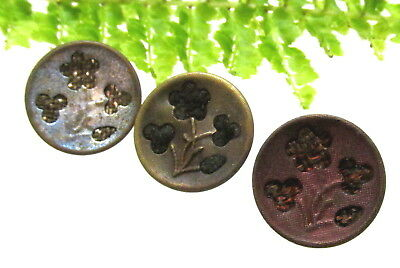 3 Victorian Floral Perfume Buttons In Different Colors P18
