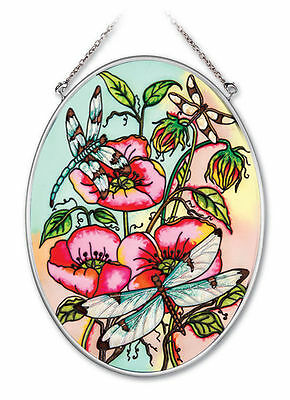 Dragonflies Poppies Sun Catcher AMIA Pink Dragonfly Poppy Flowers Hand Painted