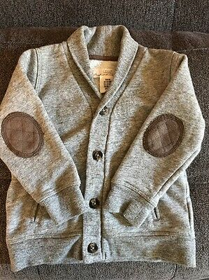 H & M Baby Boy Grey Cardigan Pea coat Sweater 12-18 Months