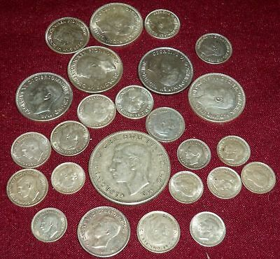 25 AUSTRALIA GEORGE VI STERLING SILVER COINS, INCL. CROWN, 1937 - 1945, 133 Gms.
