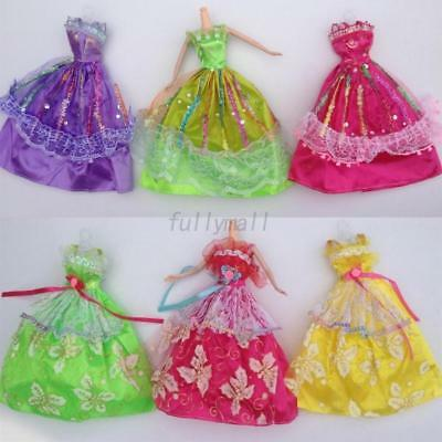 Cute 5PCS/Set For Barbie Doll Handmade Princess Party Dress Wedding Clothes/Gown
