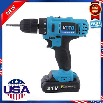 "18V 21V Lithium-Ion Cordless Hammer Driver-Drill 1/4"" Hex Hand Power Tool SK"