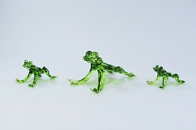 Set of 3 Frogs Figurine of Blown Glass Crystal