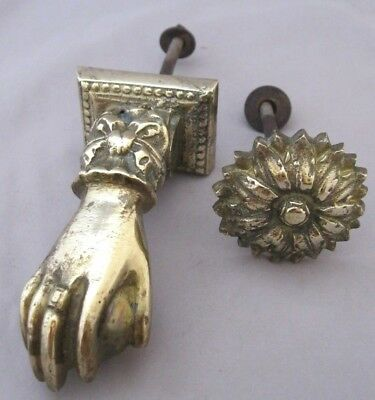 Antique Door Knocker~Solid Brass~Lady's Hand & Ball~Bow/ring~Sunflower~Heavy~4""