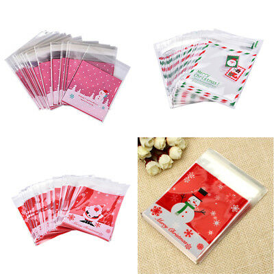 100 Self Adhesive Cookie Candy Package Bags Cellophane Birthday Christmas