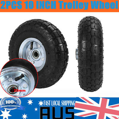 "A Pair of 10"" Hand Trolley Cart Truck Wheel Pneumatic Heavy duty 16mm bore New"