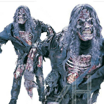 Complete 3D Zombie Skeleton Halloween Men Costume With Glove Mask  Devil Outfit