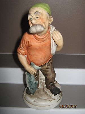 Ceramic figurine old man no 8 fisherman with fish size 140 to 185 mm ex/cond