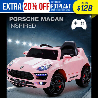 NEW ROVO KIDS Ride-On Car PORSCHE MACAN Inspired Electric Toy Battery 12V Pink