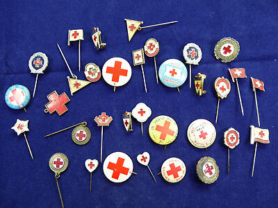 Large Collection of Vintage RED CROSS Badges and Stick Pins