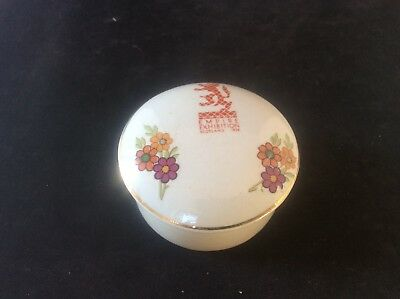 Glasgow Scottish 1938 Empire Exhibition WH GOSS Trinket Bowl Dish +lid Floral 16