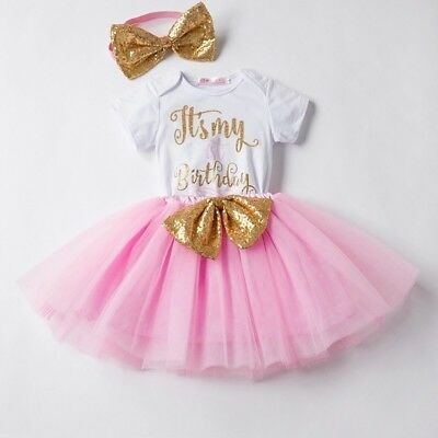 Baby Pink Girl 1st Birthday Outfit Dress Tutu Bow Cake Smash Princess Party One