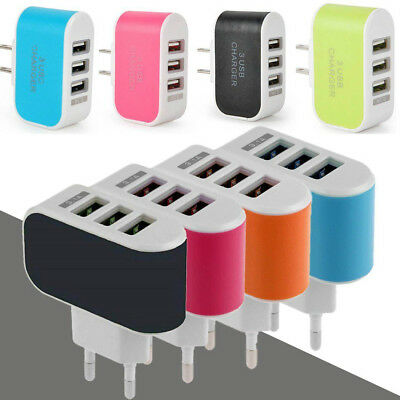 3 Ports USB Multi Adapter Travel Wall AC Charger with EU/US Plug Multi-Color