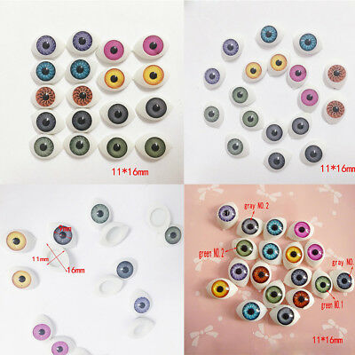 9Pair Oval Hollow flat and hollow back Plastic Eyes For DIY Doll Mask 2QT