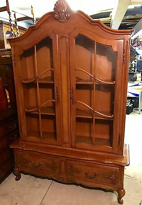 Large Vintage Louis Xv French Oak Vitrine Display Cabinet-  Shabby Chic Project?