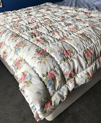 Original Vintage 50's Rose Floral Chunky Eiderdown Quilt Throw Bedspread Blanket