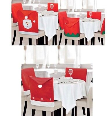 1-20 Pack Santa Claus Face Elf Elves Hat Dining Chair Cover Christmas Xmas Party