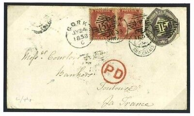 DBJ187 1858 Cork Unusual Late Irish 6d Embossed SG.59/Toulouse Bankers France