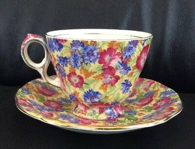 """Royal Winton Grimwades """"royalty"""" Chintz Floral Cup And Saucer Duo"""