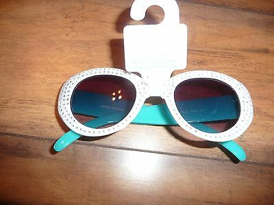 The Childrens Place pretty sparkly white/teal sunglasses UVA protection NEW 2-4