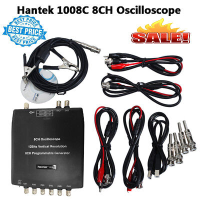 Hantek 1008C PC 8CH Automotive USB Diagnostic Oscilloscope DAQ Program Generator
