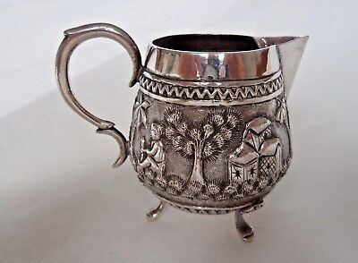 INDIAN / VICTORIAN RAJ c1900 SOLID SILVER JUG