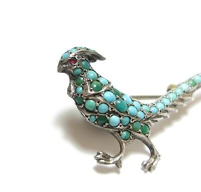 Stunning Old Antique Edwardian Silver & Turquoise Pheasant Bird Brooch Pin (B1)