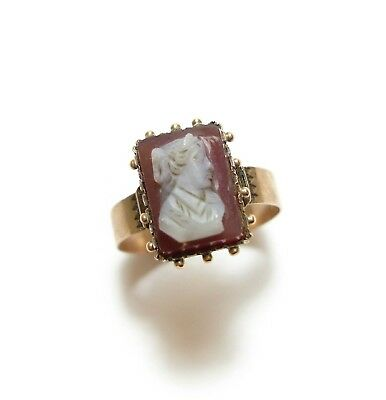 Beautiful Old Unususal Antique Victorian 9Ct Rose Gold Agate Cameo Ring O (B2)